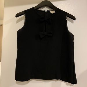 Kate Spade black top with bows - size small